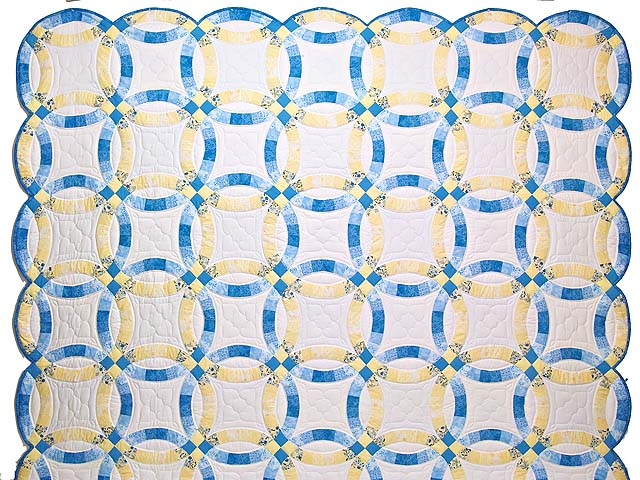 Blue and Yellow Double Wedding Ring Quilt Photo 2