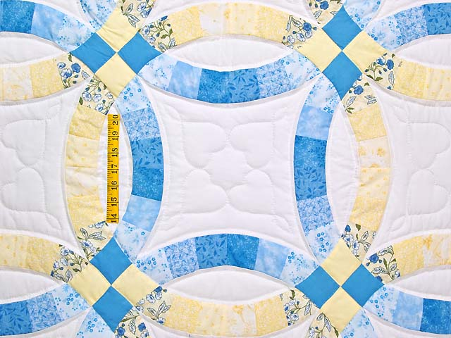 Blue and Yellow Double Wedding Ring Quilt Photo 4
