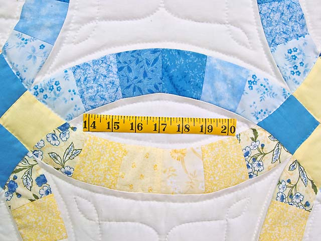 Blue and Yellow Double Wedding Ring Quilt Photo 5