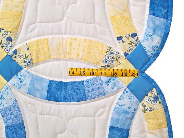 Blue and Yellow Double Wedding Ring Quilt Photo 7