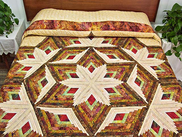 Hand Painted Diamond Star Log Cabin Quilt Photo 1