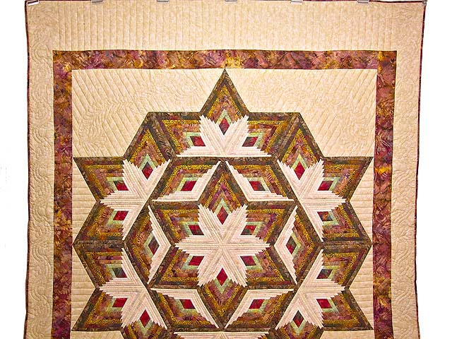 Hand Painted Diamond Star Log Cabin Quilt Photo 2