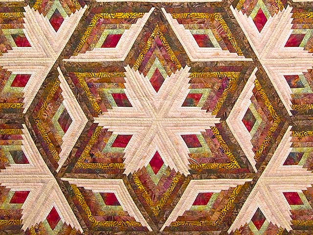 Hand Painted Diamond Star Log Cabin Quilt Photo 3
