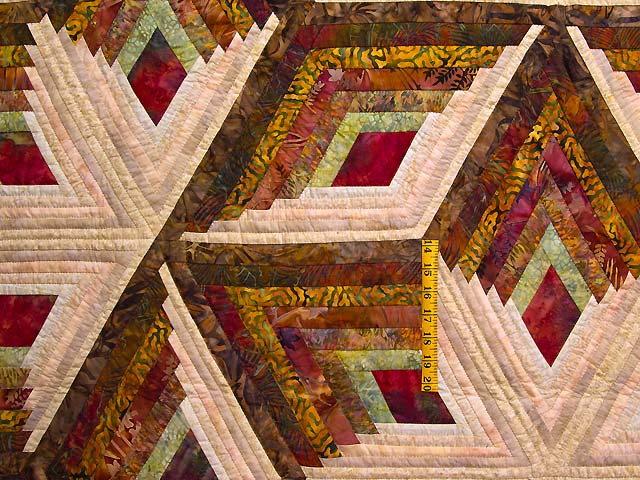 Hand Painted Diamond Star Log Cabin Quilt Photo 4