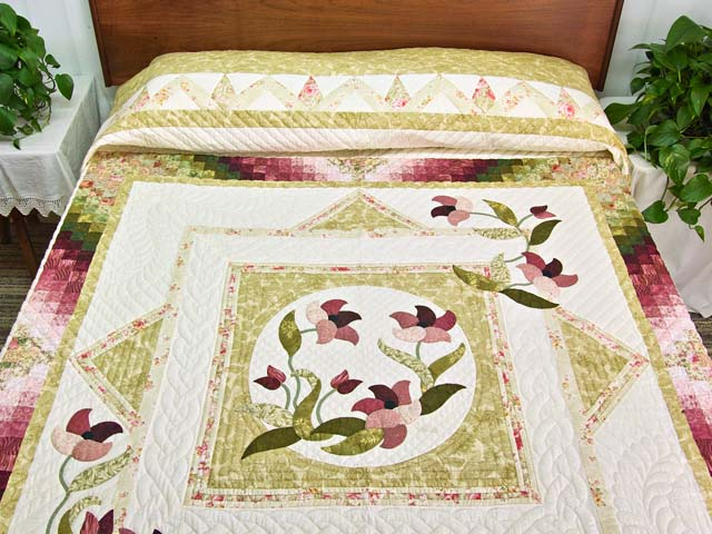 Moss Rose and Ivory Rainbow Reflections Quilt Photo 1