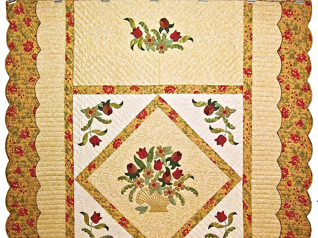 Wheat Burgundy and Sage Spring Basket Quilt Photo 2