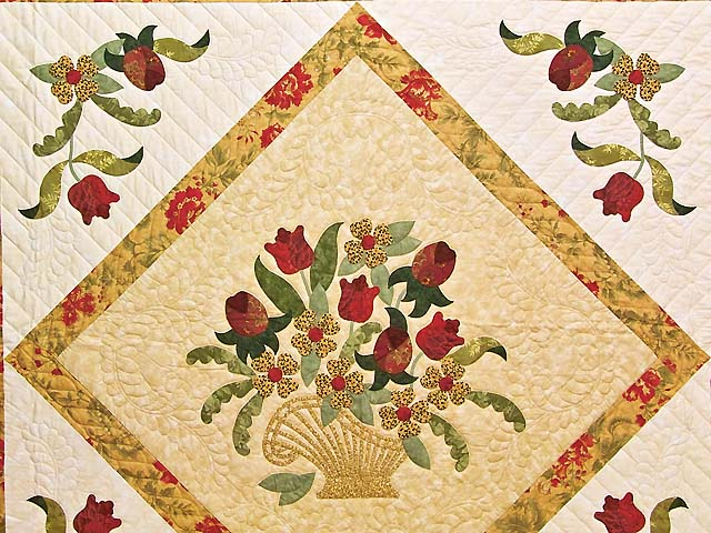 Wheat Burgundy and Sage Spring Basket Quilt Photo 3