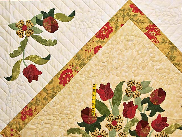 Wheat Burgundy and Sage Spring Basket Quilt Photo 4
