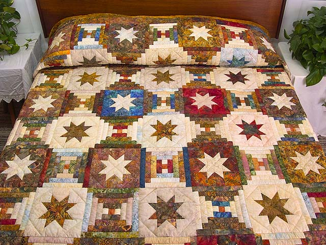King Hand Painted Courthouse Log Cabin Stars Quilt Photo 1