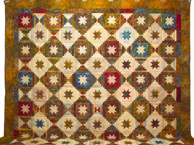 King Hand Painted Courthouse Log Cabin Stars Quilt Photo 2