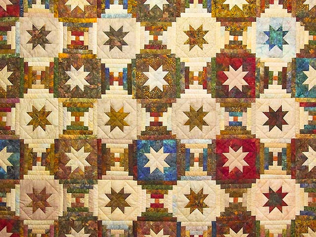 King Hand Painted Courthouse Log Cabin Stars Quilt Photo 3