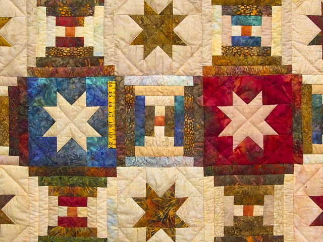 King Hand Painted Courthouse Log Cabin Stars Quilt Photo 4