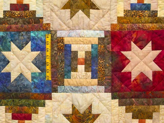 King Hand Painted Courthouse Log Cabin Stars Quilt Photo 5