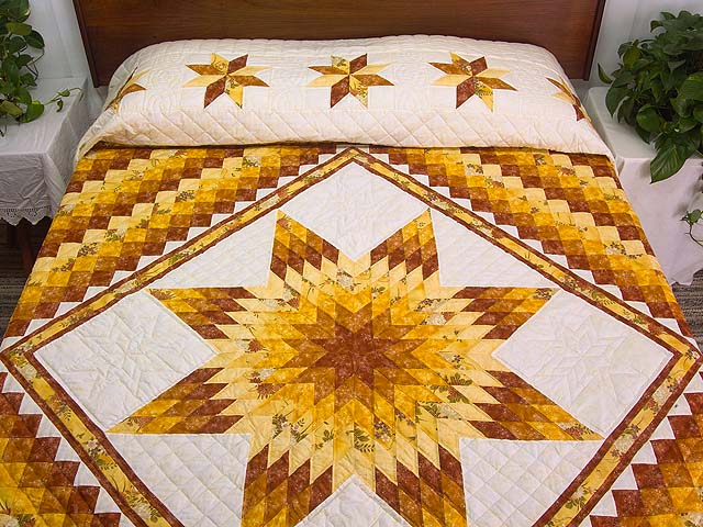 King Gold and Cream Lone Star Trip Quilt Photo 1