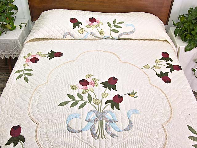 King Rose Moss and Blue Lancaster Treasures Quilt Photo 1