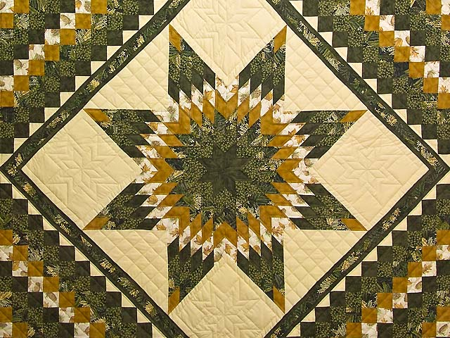 Dark Green and Gold Lone Star Trip Quilt Photo 3