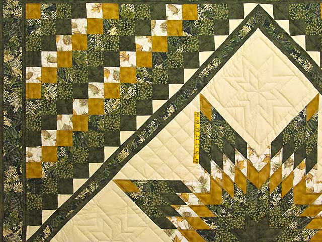 Dark Green and Gold Lone Star Trip Quilt Photo 4