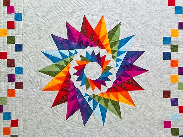 Multicolor Cartwheel Compass Quilt Photo 3