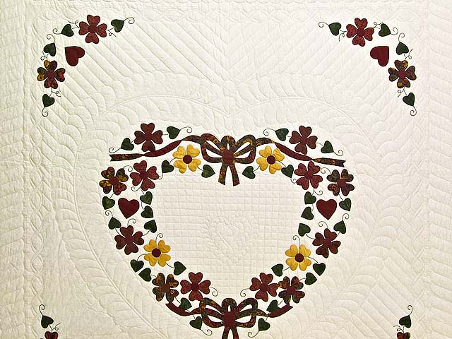 Green Burgundy and Gold Hearts Bouquet Quilt Photo 3