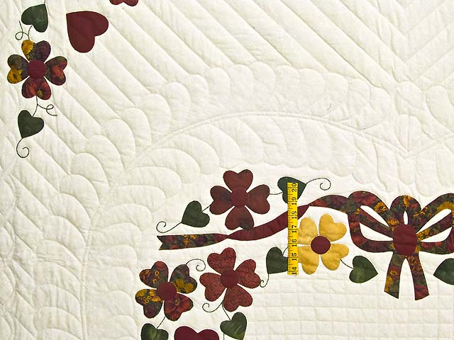 Green Burgundy and Gold Hearts Bouquet Quilt Photo 4