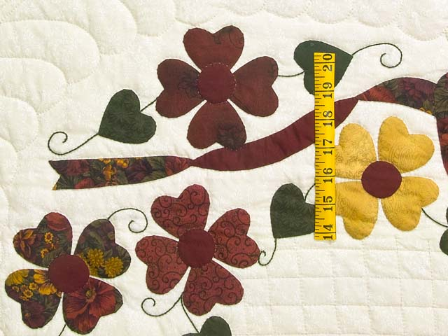 Green Burgundy and Gold Hearts Bouquet Quilt Photo 5