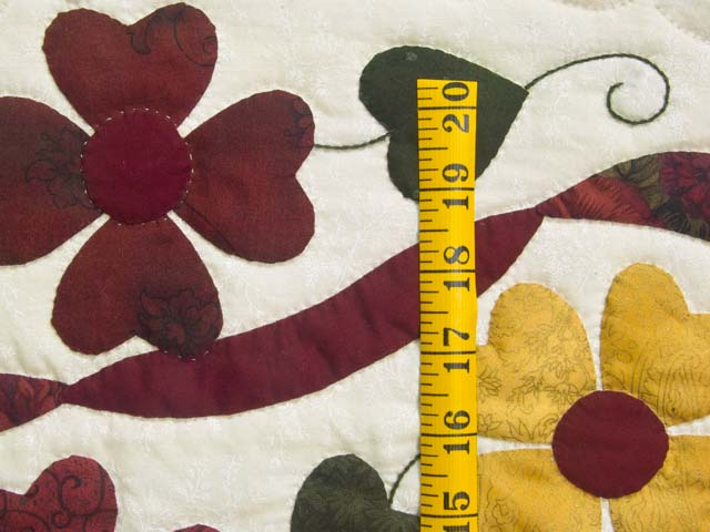 Green Burgundy and Gold Hearts Bouquet Quilt Photo 6