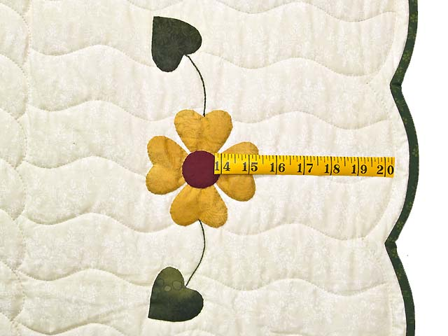 Green Burgundy and Gold Hearts Bouquet Quilt Photo 7