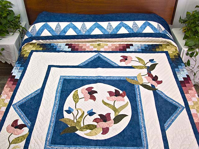 Blue and Multicolor Rainbow Reflections Quilt Photo 1