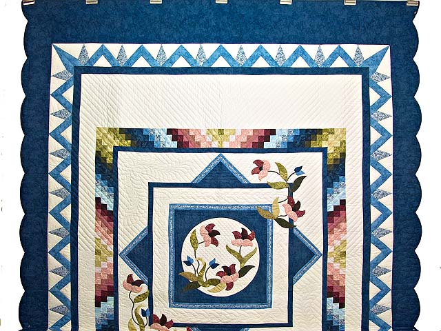 Blue and Multicolor Rainbow Reflections Quilt Photo 2