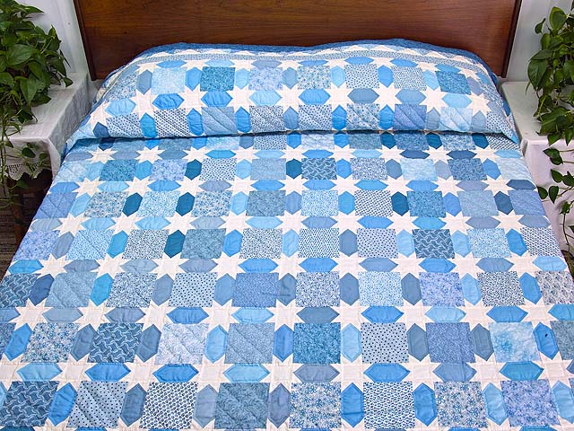 King Pastel Blue and Cream Starry Sky Quilt Photo 1