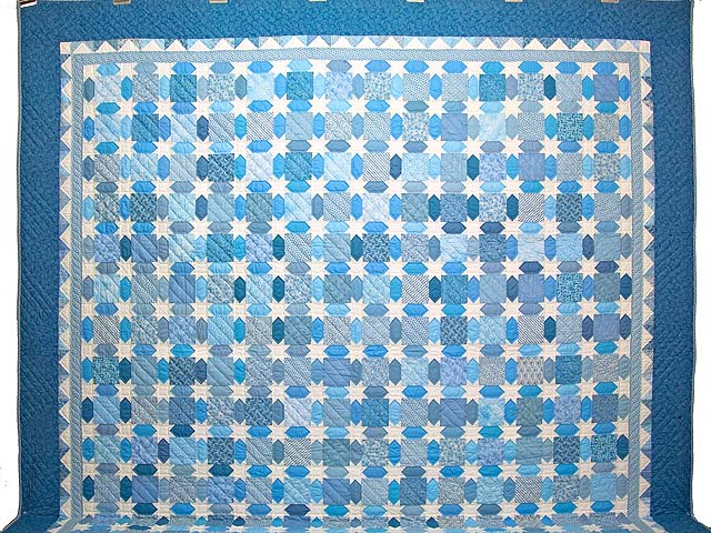 King Pastel Blue and Cream Starry Sky Quilt Photo 2