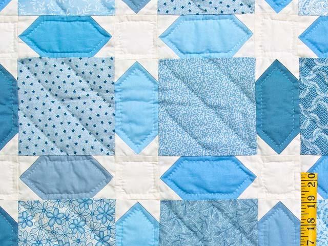 King Pastel Blue and Cream Starry Sky Quilt Photo 5