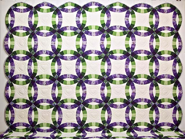 King Green and Purple Double Wedding Ring Quilt Photo 2