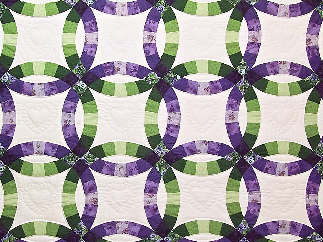 King Green and Purple Double Wedding Ring Quilt Photo 3