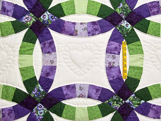 King Green and Purple Double Wedding Ring Quilt Photo 4