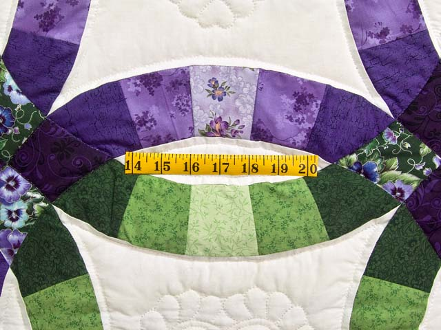 King Green and Purple Double Wedding Ring Quilt Photo 5
