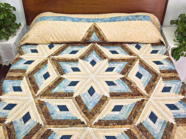 King Pastel Blue and Gold Diamond Star Log Cabin Quilt Photo 1