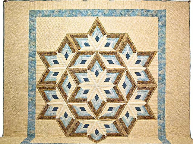 King Pastel Blue and Gold Diamond Star Log Cabin Quilt Photo 2