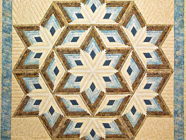 ... King Pastel Blue And Gold Diamond Star Log Cabin Quilt Photo 3 ...