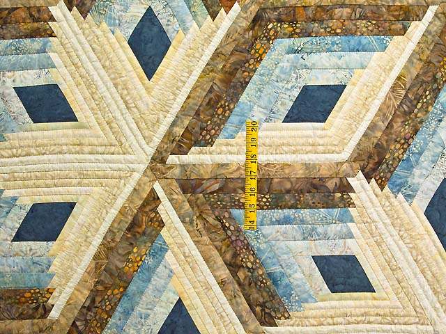 King Pastel Blue and Gold Diamond Star Log Cabin Quilt Photo 4