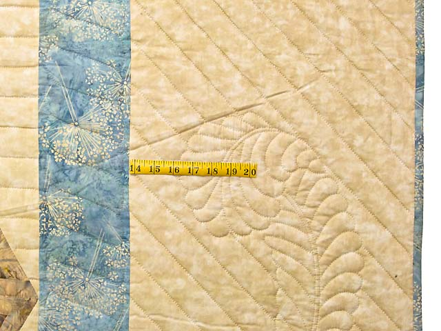 King Pastel Blue and Gold Diamond Star Log Cabin Quilt Photo 7