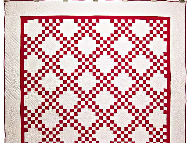 Red and White Double Irish Chain Quilt Photo 2