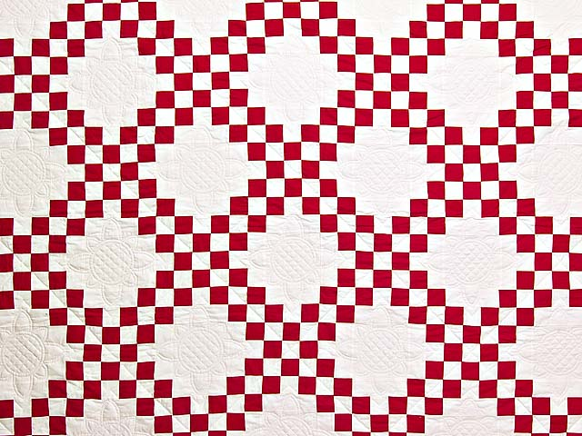 Red and White Double Irish Chain Quilt Photo 3