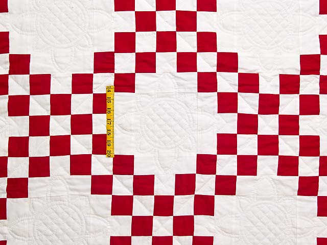 Red and White Double Irish Chain Quilt Photo 4