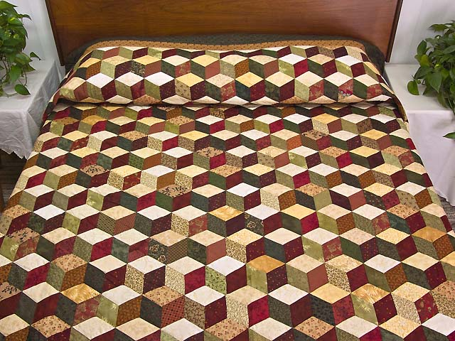 Green Gold and Red Tumbling Blocks Quilt Photo 1