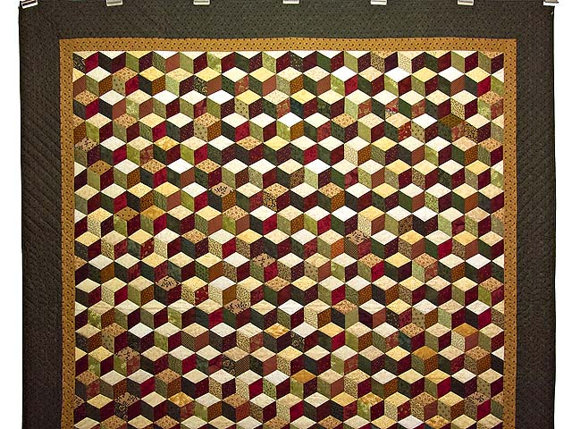 Green Gold and Red Tumbling Blocks Quilt Photo 2