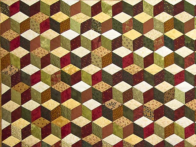 Green Gold and Red Tumbling Blocks Quilt Photo 3