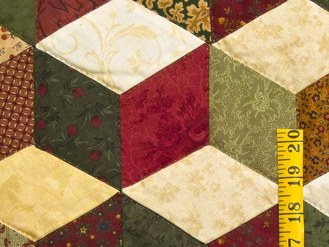 Green Gold and Red Tumbling Blocks Quilt Photo 5