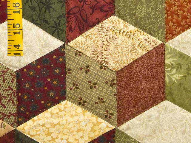 Green Gold and Red Tumbling Blocks Quilt Photo 6