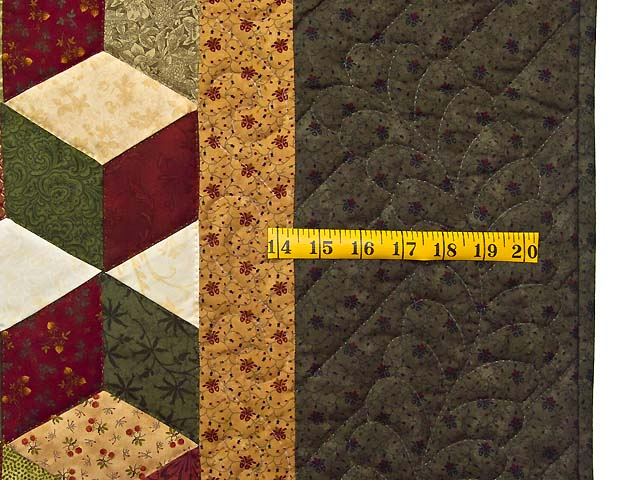 Green Gold and Red Tumbling Blocks Quilt Photo 7